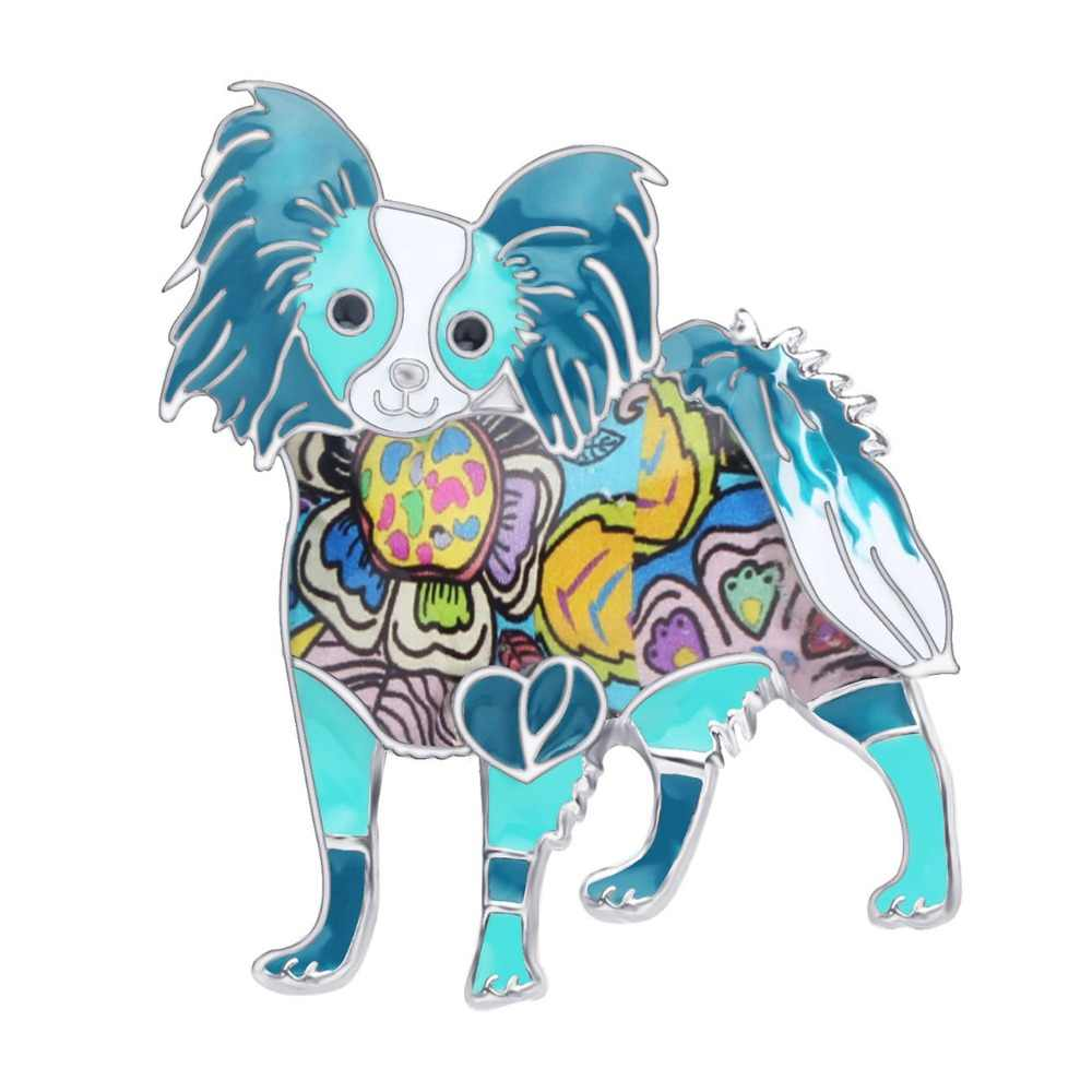 Bonsny déclaration émail alliage debout Papillon chien broches Pin vêtements écharpe animaux bijoux pour femmes filles Pet amoureux cadeau