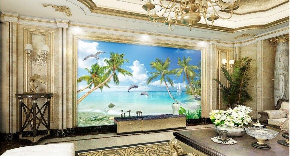 3d wallpaper Tree Seascape Beach Dolphin Drifting Bottle custom photo wallpaper 3d Home Decoration Обои