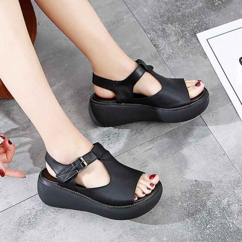 Women Leather Sandals Wedge Shoe Summer 5 Cm High Heels Women Sandals Black Casual Shoes Handmade Leather Women Sandals 2019Women Leather Sandals Wedge Shoe Summer 5 Cm High Heels Women Sandals Black Casual Shoes Handmade Leather Women Sandals 2019
