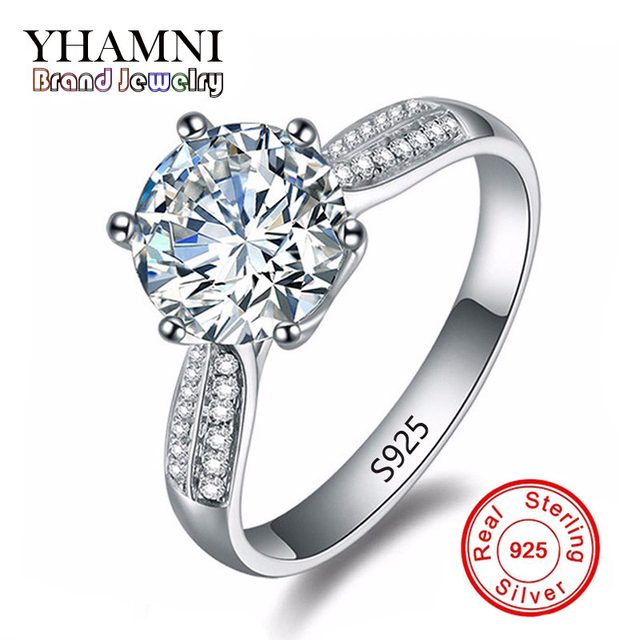 Pure Solid Silver Rings Set 2 Carat Sona Cz Diamant Engagement