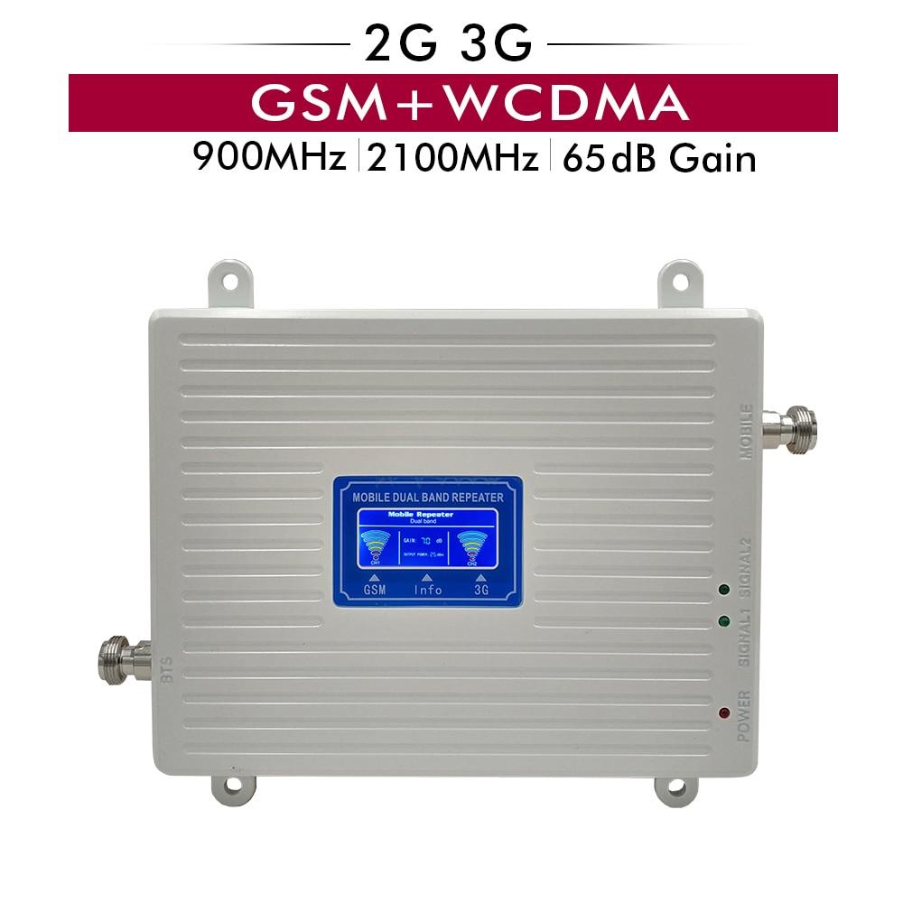 Gain 65dB 2G 3G double bande Booster 900 2100 MHz amplificateur de Signal Mobile GSM 900 UMTS WCDMA 2100 répéteur de Signal amplificateur cellulaire