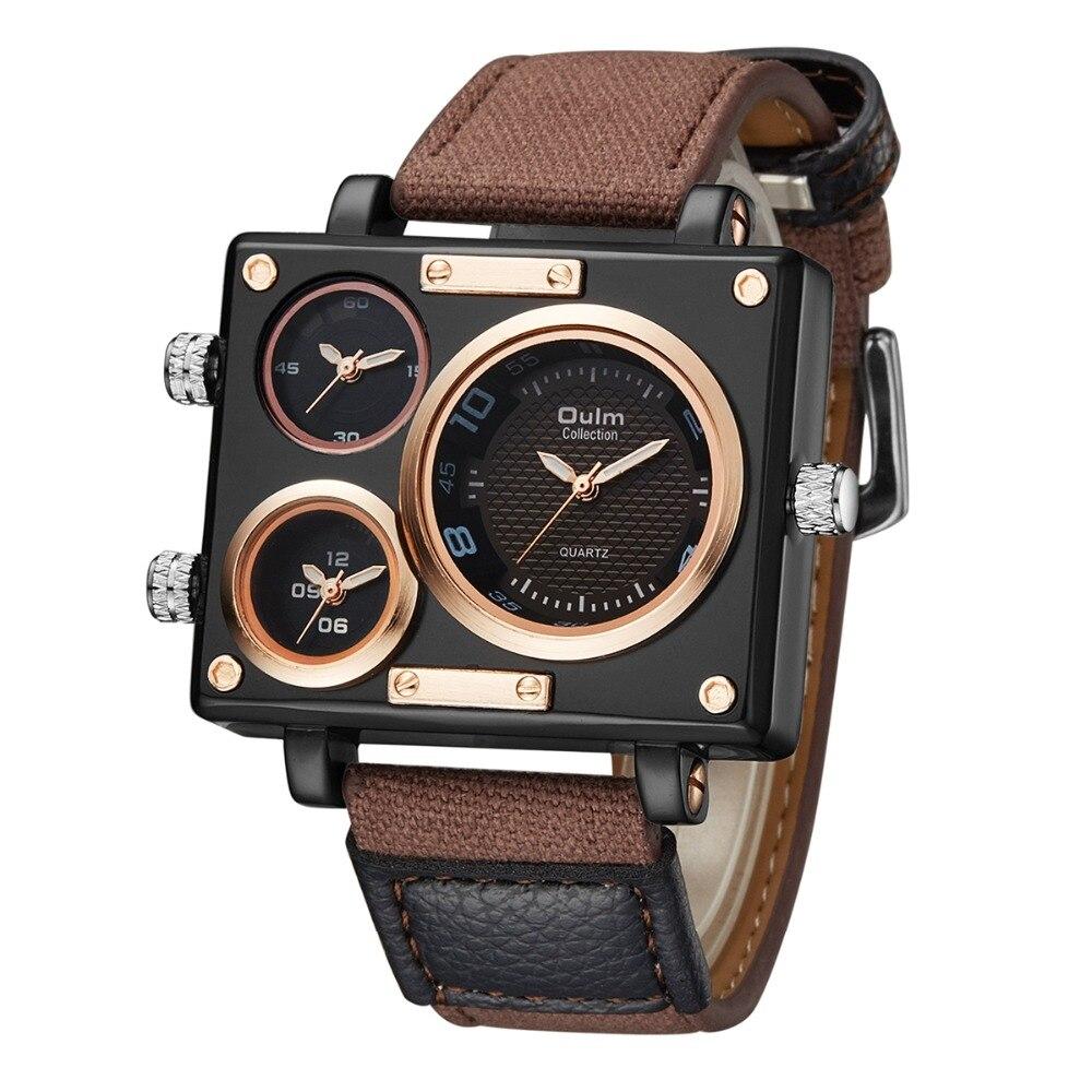 Men's Watches Top Brand Luxury Oulm 3595 Unique Designer Watches Men Fashion Square Big Face 3 Time Zone Casual Quartz Watch