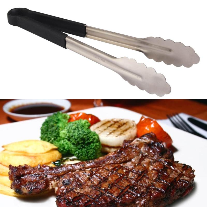 10/12/14/16 Inch Stainless Steel Barbecue Buffet Pastry Food Tongs Plastic Handle