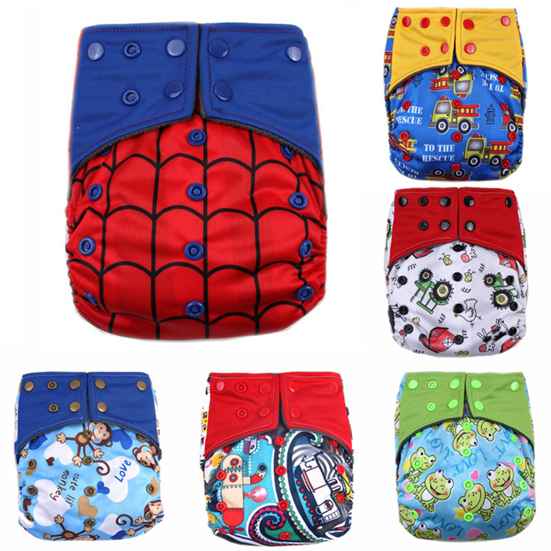 Winter Spider-Man Baby Diapers Newborn  Washable Diaper Baby Diapers Training Pants Breathable Grid/Cotton Training Pant Diapers
