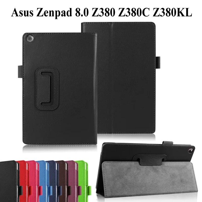 Чехол из искусственной кожи личи для ASUS Zenpad 8,0 Z380 Z380KL Z380C 8,0-дюймовый смарт-чехол с подставкой для ASUS Zenpad 8,0 чехол для планшета + флип + ручка