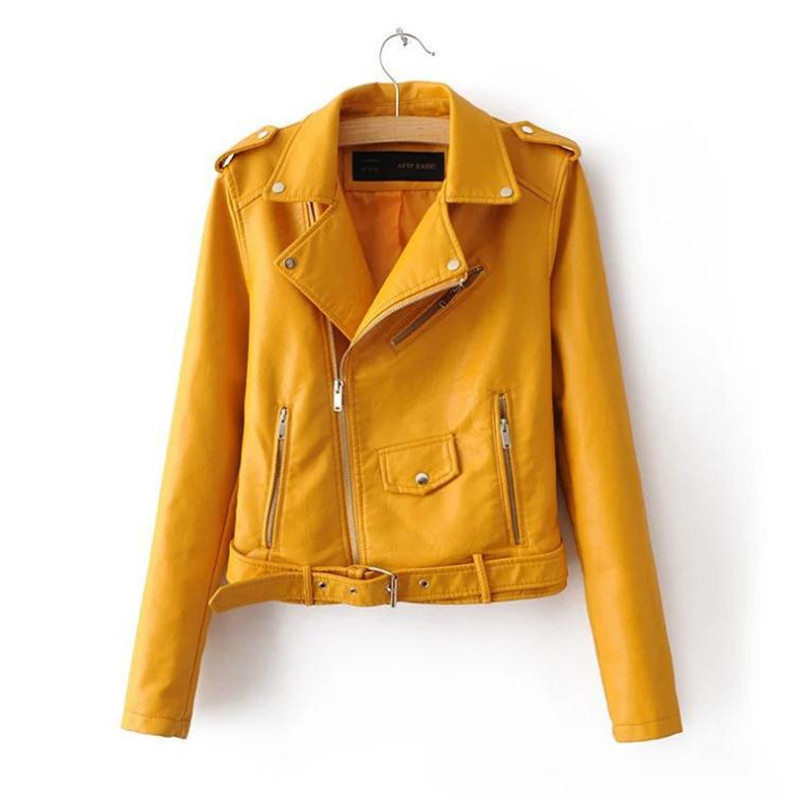 new spring fashionable bright color good quality ladies main street for women pu jacket European locomotive pu   leather   jacket