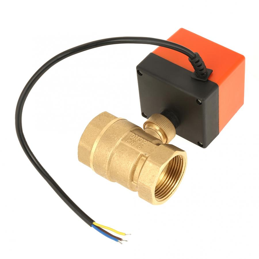 AC 220V G1-1/4 DN32 2-Way 3-Wire 2-Point Control Brass Electrical Motorized <font><b>Ball</b></font> <font><b>Valve</b></font> image