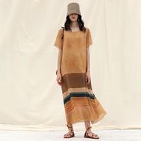 IRINAW081 Лето 2018 Новое поступление оригинальный дизайн с коротким рукавом Длинные линии шелка в полоску льняное платье женские