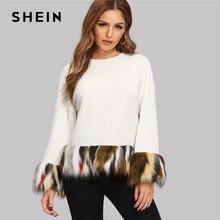 dd7da787d SHEIN White Contrast Faux Fur Drop Shoulder Casual Long Sleeve Women Autumn
