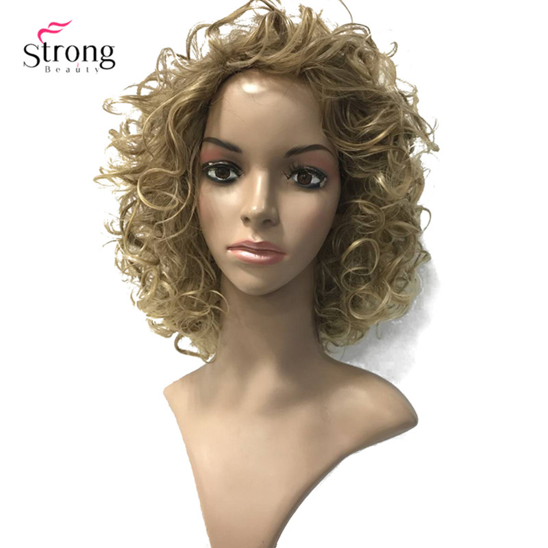 StrongBeauty Women's Wigs Short Curly Hair Synthetic Full Wig 3 Colors for Women