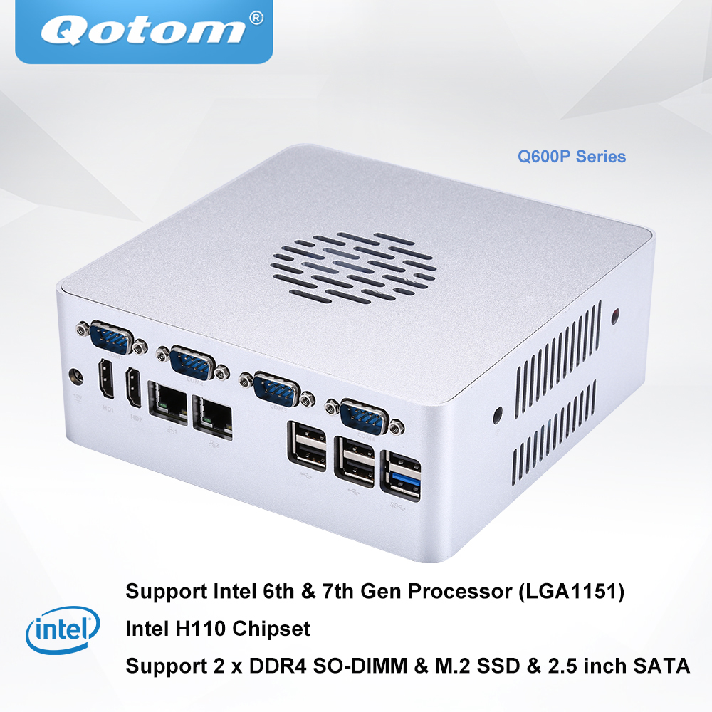 Qotom Q600P Barebone System Mini Desktop PC Support 6th 7th Gen Processor Socket LGA1151 DDR4 RAM M.2 SSD Powerful Mini PC X86