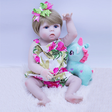 цена full Silicone Vinyl Reborn Baby Doll Toys 22inch big eyes Princess Toddler Babies Dolls Alive best Birthday Gift Play House Toy онлайн в 2017 году