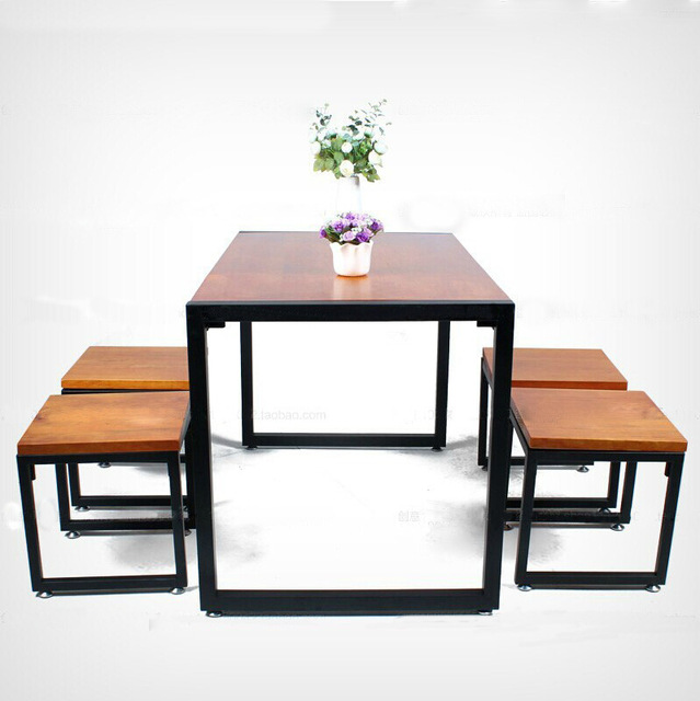 European retro do the old parlor simple combination of solid wood furniture wrought iron cafe  sc 1 st  AliExpress.com & European retro do the old parlor simple combination of solid wood ...