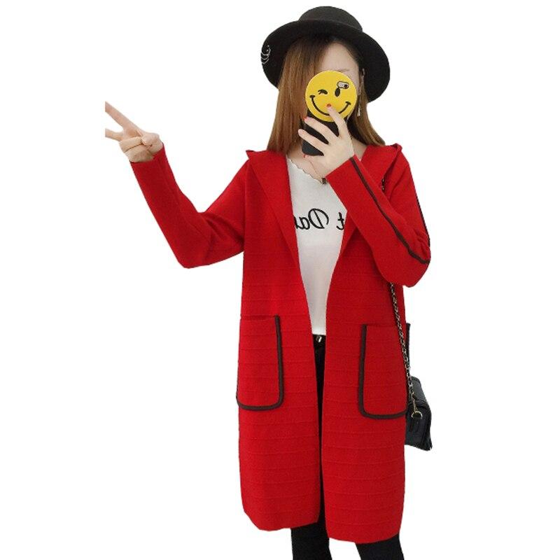 Mujer Capucha Nueva Cardigans Invierno Manga Con Punto gris Cardigan rojo  Negro Larga 2018 Otoño Nw776 ... 8f2fc0ce993a