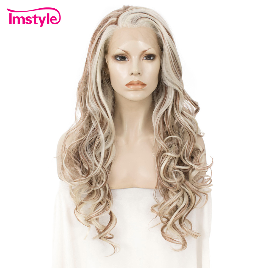 Imstyle Blonde Mixed Color Lace Front Wig  Synthetic Hair Wigs For Women Three Tone Long Natural Wavy Heat Resistant Fiber