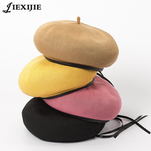 French beret spring summer Girl Beret Womenknitted breathable adjustment Draw String pu leather beret painter cap boina pillbox aetoo spring and summer new leather handmade handmade first layer of planted tanned leather retro bag backpack bag