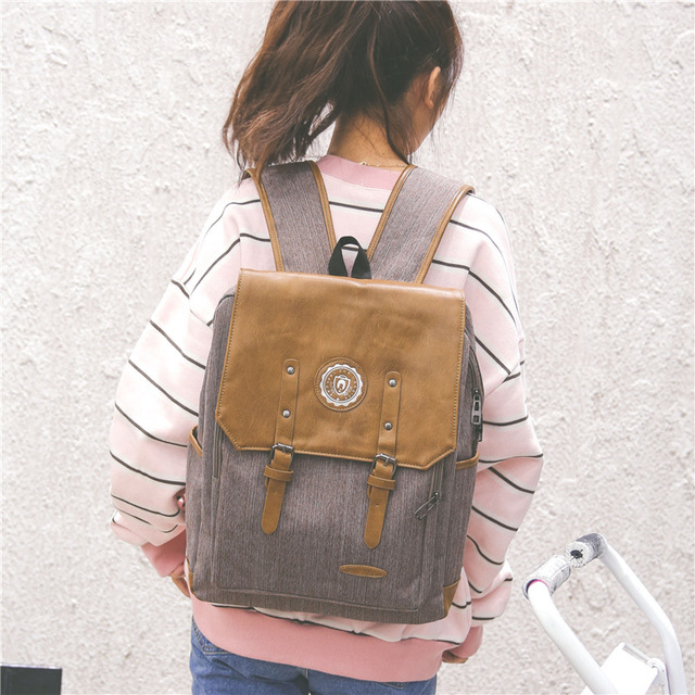c8ea37fe2 Grey luxury canvas travel backpack women leather canvas backpack fashion  women backpack canvas school bag girl cute backpack