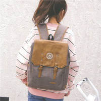 Grey Luxury Canvas Travel Backpack Women Leather Canvas Backpack Fashion Women Backpack Canvas School Bag Girl