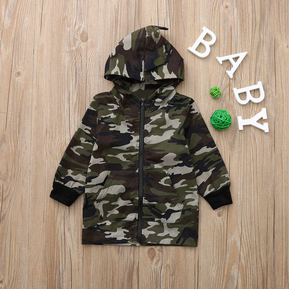 823b526d ... 2019 New Toddler Camo Jacket Dinosaur Coat Baby Boy Camouflage Zipper  Coat Top Hooded Cotton Outwear ...