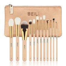 BEILI Pink 12 pieces Goat Hair Essential Premium Foundation Eye shadow Blush Powder Highlighter Concealer Makeup Brush Set