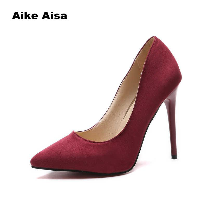 Plus Size 44 Pumps Women Shoes Red Flock Slip-On Shallow Wedding Party Pointed Toe High Heels Pump Chaussures Femme 2019
