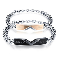 Charm Couple Chain & Link Bracelets Romantic Real Love Black/Rose Gold color Stainless Steel Women Men Jewelry Gift
