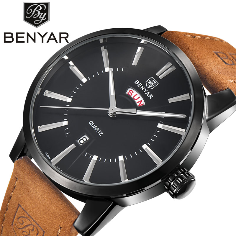 BENYAR Men Watches Top Brand Luxury Male Business Quartz Watch Men's Military Sports Waterproof Clock Man Relogio Masculino 2016 weide new men quartz casual watch army military sports watch waterproof back light men watches alarm clock multiple time zone