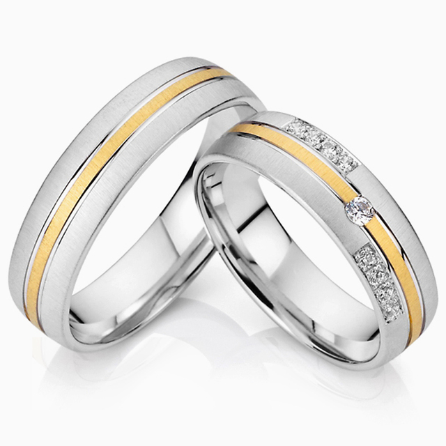 d04573567b76 1 pair lovers classic titanium steel couples jewelry wedding bands  engagement promise rings sets for men