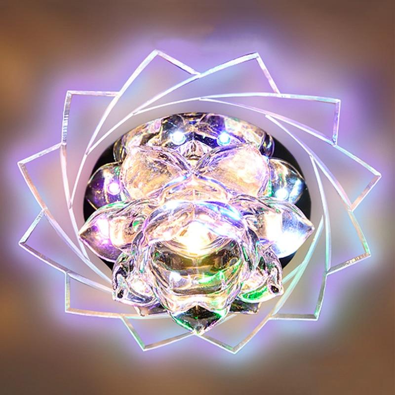 5 Вт светодиодный Кристалл светодиодный Потолочные светильники цветок лотоса, на застежке, для цвет потолочные светильники проход коридор ...