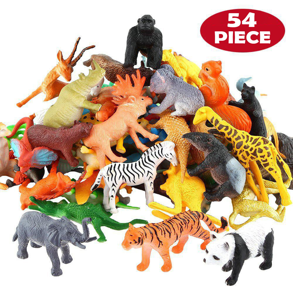 54 Pcs Mini Jungle Animal Toys Set  Realistic Wild Plastic Animals Learning Toys Elephant Gazelle Giraffe Gnu Gorilla Lion Tiger
