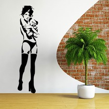 Free shiping Wall Decal BANKSY KATE MOSS BEAR Vinyl wall art sticker decal home decor  for room decoration