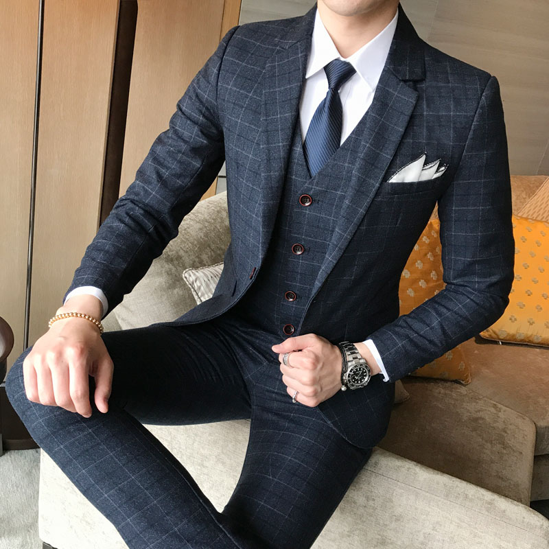 Three-Piece Pants Suit Vest Jacket Wedding-Dress Plaid Business Formal Men's Casual Fashion
