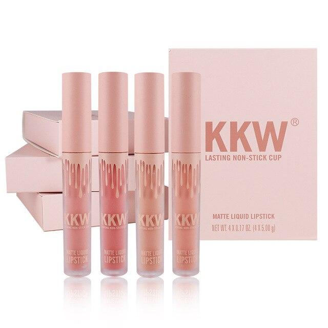 4 Pcs/Set Liquid Lipstick Kilie Lip Kit Matte Lip Gloss Long Lasting Lip Color Kkw Beauty Birthday Edition Collection Lipgloss