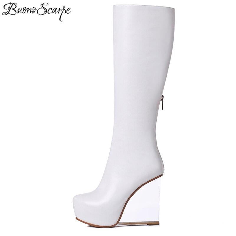 BuonoScarpe Women Platform High Heel Long Boots Genuine Leather Brand Design Transparent Heels Shoes Wedges High