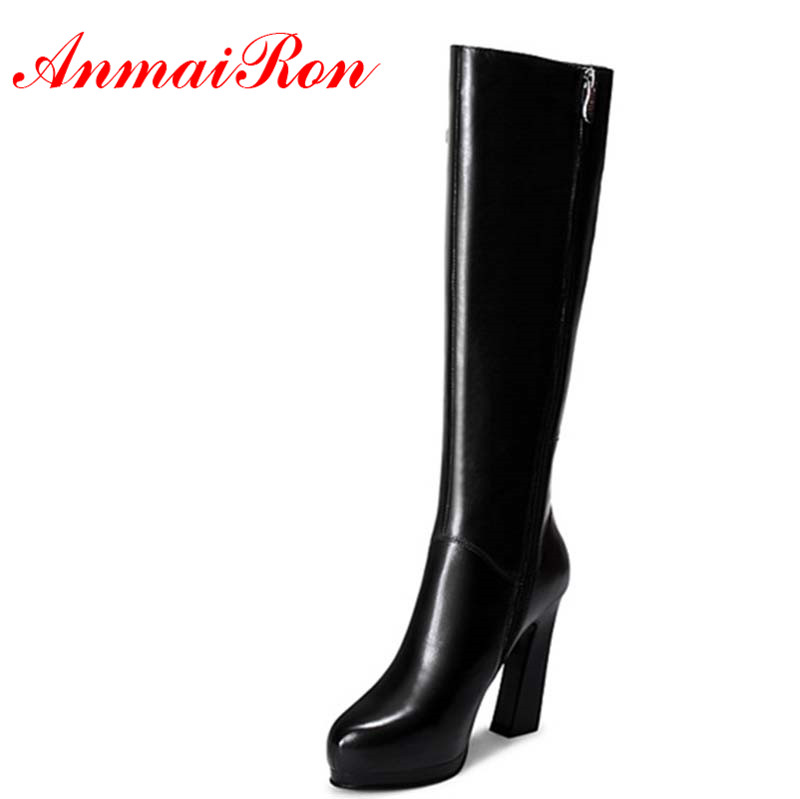 ANMAIRON New High Heels Zippers Round Toe Buckle Strap Shoes Woman Mid-calf Boots for Women Black Western Boots Platform Shoes riding boots chunky heels platform faux pu leather round toe mid calf boots fashion cross straps 2017 new hot woman shoes