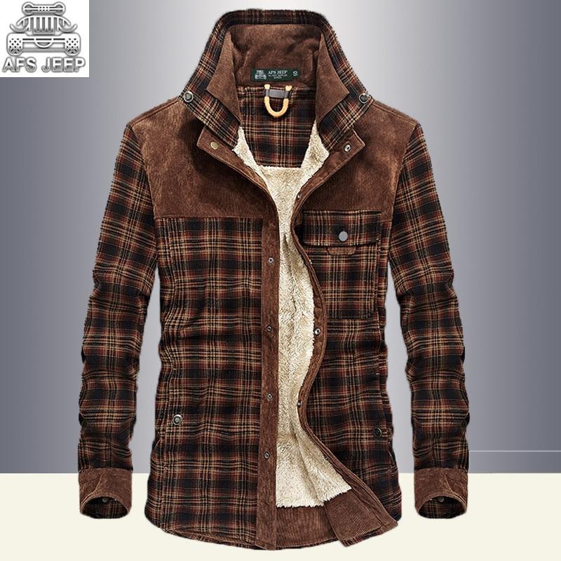 Winter Snow Warm Men Shirts Fleece Lined Plaid Plus Velvet Brand AFS Jeep 100 Cotton 2017