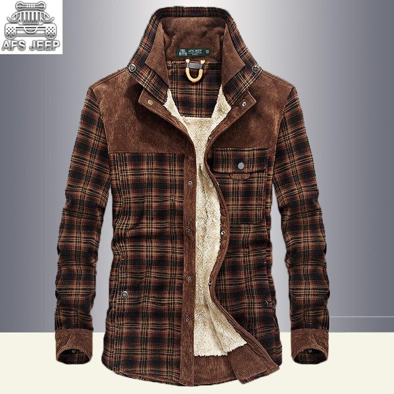 Winter Snow Warm Men Shirts Fleece lined Plaid Plus Velvet Brand AFS Jeep 100% Cotton 2017 New Windbreaker Casual Male Blouses