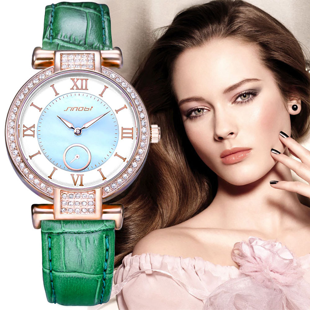SINOBI Fashion Ladies Wrist Watches Leather Watchband Brand Womens Quartz Clock of Diamond Female Wristwatch Montres Femmes 2017