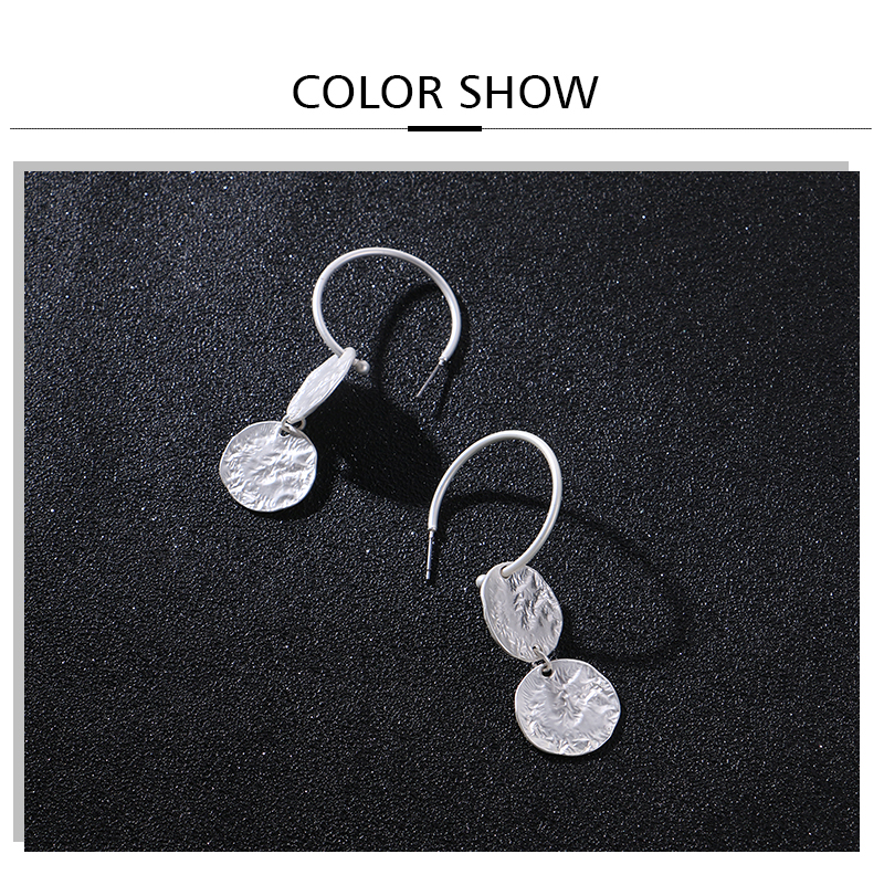 HTB1mShSFx9YBuNjy0Ffq6xIsVXaj - Badu Hoop Earring Women Vintage Hammered Metallic Earrings Punk Style Fashion Jewelry Champagne Color
