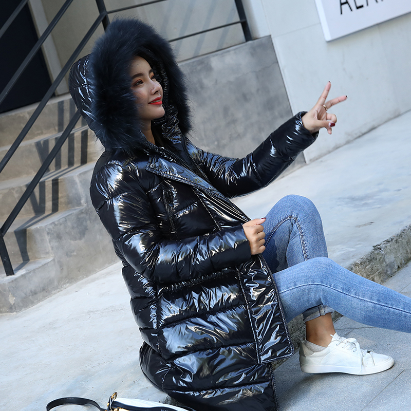 2019 Winter New Shiny Coat Female Slim Fit Long Down Jacket Thick Fur Collar Hooded Jacket