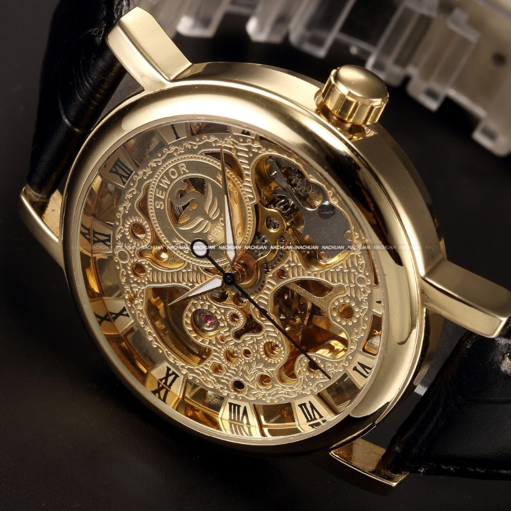 watches analogue s watch mens gold transparent feathers men style dial