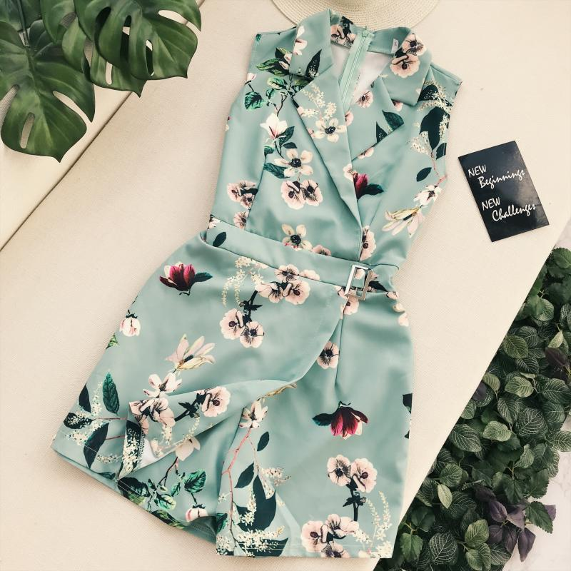 Vintage Floral Print Bodysuits Jumpsuit Women Sexy Party Playsuits Female Casual Beach Romper Ladies Boho Wide Leg Jumpsuit
