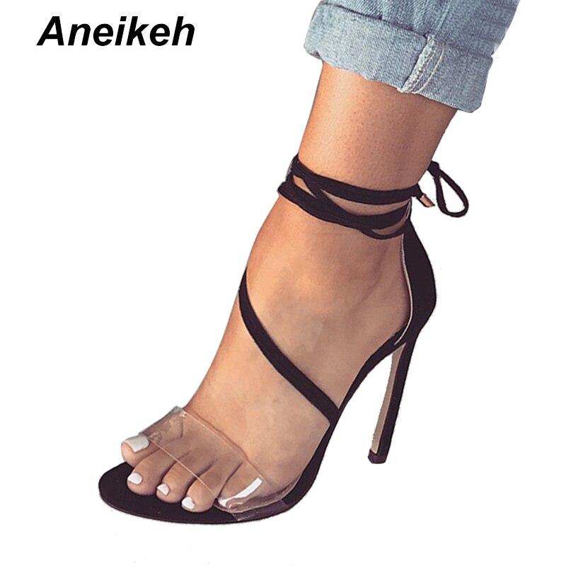 Aneikeh Sexy Transparent PVC Sommer Gladiator Sandalen Schuhe Neue High  Heels Lace Up Pumps Riemchen Dünne Fersen Größe 35 -40 999-8 c305fe92d5