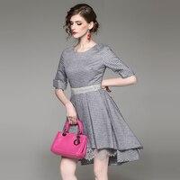 Clothing Women Checkered Round Neck Collar Short Before The Short Long Dress Summer Sundress Dresses For