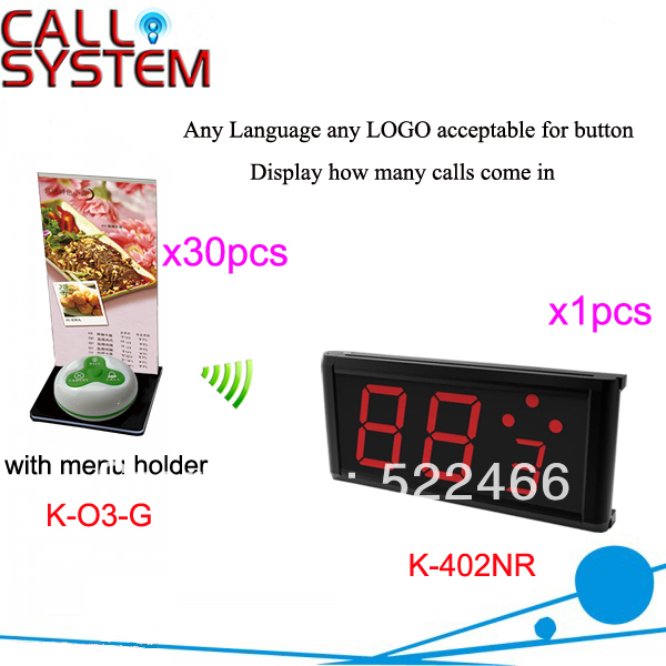 цены  Restaurant Wireless Paging System K-402NR+O3-G+H 3-key call button and display for quick service DHL free shipping