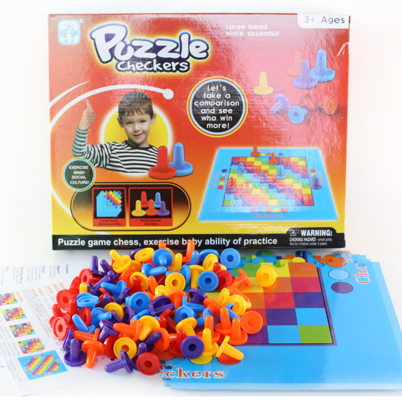 Parent-child puzzle game PUZZLE CHECKERS checkers game double-sided springboard board game 2-4children play toys party