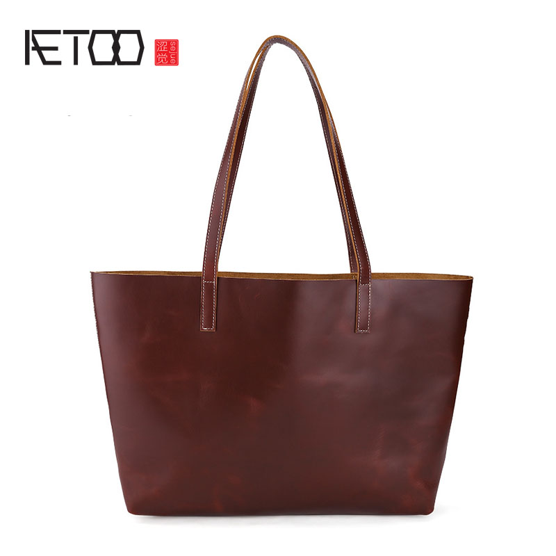 AETOO Simple wind pure head layer of leather ladies shoulder bag large capacity handbag leather bag 3 sets aetoo boston first layer of leather ladies handbag bag fashion simple simple large capacity handbags shoulder messenger bag
