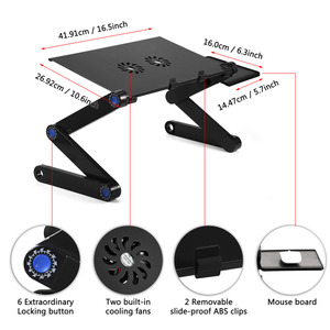 Image 4 - Aluminum Alloy Adjustable Foldable Laptop Desk Lap Desks Computer Table Stand Notebook With Cooling Fan Mouse Board For Bed Sofa