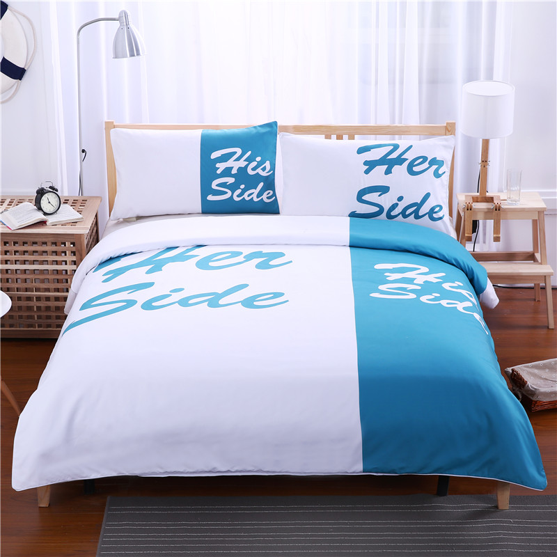 Blue Red And Black Duvet Cover Sets Queen Size with Pillow Covers 3 Pcs Her Side His Side Lover Bedding Set Qulit Cover