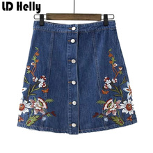 2017 Women Vingate Floral Embroidery Denim Skirts Female Sweet Single Breasted Mini A Line Jeans Woman